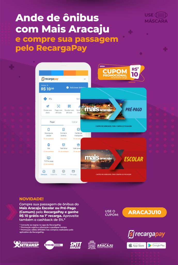 Cartaz de divulgação: Ande de ônibus com o Mais Aracaju e compre sua passagem pelo Recargapay